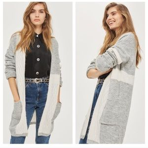 TOPSHOP Cable Patchwork Long Cardigan Sweater
